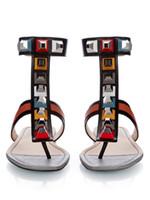Wholesale american gladiator - Rivets Rhinestone Sandals Women 2017 European American style Flat Heel Gladiator Woman Shiny Sandalias Mujer Size 42