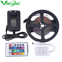 Wholesale Led Stripe Remote Rgb - Wholesale-5M 300LED SMD3528 RGB LED Strip with 24Key IR Remote Controller DC 12V 2A Power Adapter Changeable Flexible LED Stripe Light