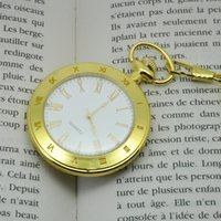 Wholesale Antique Gold Pocket Watch Chain - Roman Numerals Pocket Watches White Dial Gold Plated Case Quartz Mens Open Face Pocket Watch with Chain