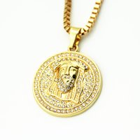 Wholesale Jesus Portrait Pendant - Free shipping Men Jewelry Gold Plated Jesus Portrait Necklace Men's Necklace Long Hip Hop HIPHOP Christmas Gifts