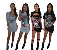 Wholesale Offset Mini - 2017 new women bandage dress fashion Offset burning flowers Club t-shirt Dress ladies mini vestido Hanging neck Bodycon dress