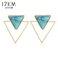 17KM Bohemian Stud Earrings Triangle Gold Color Double sided Blue Stone Earring 2017 New Fashion Jewelry For Women