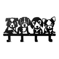 Wholesale Nails Cut Designs - New Original Four Dogs Paper-cut Design Robe Hook Coat Hat Bag Cartoon Wall Hanger Home Improvement Decor Free Shipping
