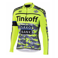 Wholesale jersey cycling saxo green online - 2017 Tinkoff saxo cycling long sleeve jerseys ropa ciclismo Polyester quick dry mens cycling clothing outdoor sportswear C0115