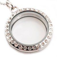 Wholesale Wholesale Round Pendant Necklaces - Wholesale- Hot wholesale Stainless Steel Necklace 30mm Round Magnetic Glass Floating Charm Locket Pendants With Rhinestones Free Chain