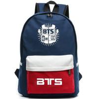 Wholesale Music School Bag - BTS backpack Rap Monster star fans daypack Bangtan Boys patchwork schoolbag Music rucksack Sport school bag Outdoor day pack
