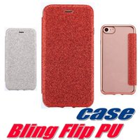 Wholesale Electroplated Diamond Leather Skin Case - Bling Giltter Leather Wallet Case For iPhone 7 Plus Electroplating Flip Leather Diamond Skin Back Cover Case For iPhone 7 Plus 6 6S SE 10pcs