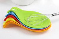 Wholesale Kitchen Heat Resistant Silicone Spoon Rest Utensil Spatula whisck fork Holder mats pads Kitchen Tool wn003