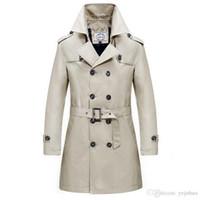 Wholesale Trench Coat Wool Collar Men - Khaki Men's Long Triple Breasted Business Coat Fashion Men's Wool Turn Down Collar Breasted Men Trench Coat Plus Size 4XL Free Shi