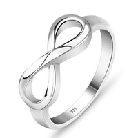 Wholesale Wholesale 25 Silver Rings - Fashion is simple Best friend gift high quality 925 sterling silver infinite ring endless love sign wholesale women's fashion ring 25-30