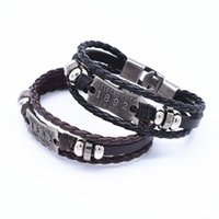 Wholesale Braclet Free Shipping - Wholesale-2016 Fashion Black With Brown Cuff Braclet Men Jewelry Leather Bracelets and Rope Bangles for Women Free Shipping