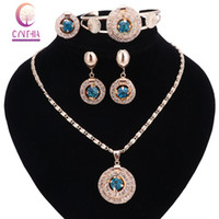 Wholesale Black Costume Jewelry Rings - New Bridal Red Blue Black Crystal Jewelry Sets Wedding Accessories Gold Color African Beads Costume Necklace Earring Bangle Ring