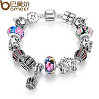 Pandora Style Authentic 925 silver Retro Fashion Crown Pendants Colorful Murano Beads Bracelets para presente de Natal PA1868