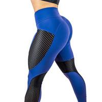 seksi yoga pantolonları toptan satış-Avrupa rusya yeni gelgit kadın yoga pantolon mavi mor hollow dantel patchwork seksi sevimli spor salonu spor koşu pantolon yoga dans elastik tayt