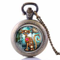Wholesale-2016 Fashion Cat Bronze Vintage Locket Collier Montre de poche Steampunk Pendentif Femme Meilleur cadeau P2159