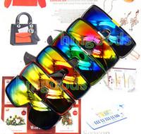 Wholesale racing mirrors - Brand designer Europe DOMO Mirror Big Travel Reflective Racing Fashion Skateboard Colorful Punk Unisex Wayfarer Sunglasses Goggles 2030