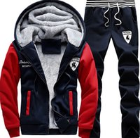 Wholesale Casual Sweat Suits For Men - Tracksuit for Man Casual Spring Autumn Thicking Hoody Fur Lining Fleece Hoodies Pant Men's Sports Clothing Sets Sweat Suits - Free Shipping