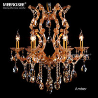 Wholesale Maria Crystal Chandelier Light - Classic Style Amber Chandelier Crystal Light With Maria Theresa Chandeliers Style Glass Crystal Lighting Fixture Fast Shipping For Meeting