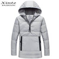 Wholesale Fast Hood - Wholesale- 2016 Men Jacket Down Coats Usual Coat Outwear Pullover with Hood Warm Winter Fast Shipping