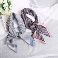 Wholesale Small Square Polyester Scarves - Fashion Blue Streak Scarf Women Polyester Small Square Scarf Printed British Style Brand Casual Silk Scarf 70cm*70cm 77