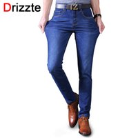 Wholesale Mens Designer Jeans 34 32 - Wholesale- Drizzte Black Blue Mens Stretch Jeans Denim Brand designer Mens Slim Fit Jean Size 30 32 34 35 36 38 40 Pants Trousers Male