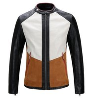 Wholesale Fine Leather Jackets - Man the spring and autumn period and the han edition of the new trend of fine personality splicing leather jacket M - 3 xl