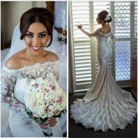 ingrosso abito da sposa perline perle-Abiti da sposa in pizzo a sirena vintage 2017 con maniche lunghe, perle di lusso, perline, abiti da sposa, abito da sposa, abito da sposa