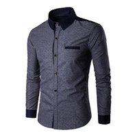 Wholesale Mk Shirts - Wholesale- Men Print Patchwork Shirts MK 2017 New Fashion Lapel Long Sleeve Tops Tees Male Shirt Clothes Plus Size