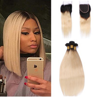 Wholesale Two Tone Hair 1b 613 - 9A Unprocess Two Tone 1B 613 Ombre Brazilian Virgin Human Hair Weaves With Closure Frontal Straight Blonde Ombre Lace Closure With 3 Bundles