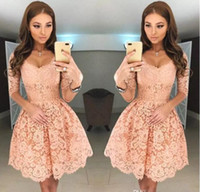 Wholesale Backless Half Sleeve Homecoming Dress - 2018 New Sweet V Neck Full Lace Short Homecoming Dresses Half Sleeves Zipper Back Mini Short Cocktail Party Dresses