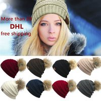 Wholesale United States Sweaters - 2017 Europe and the United States women new CC standard wool sweater warm knitted hat cute care hair hat outdoor warm Couple hat