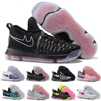 Wholesale Cheaper Kd Shoes - (With Box) Free shipping Cheap new arrival high quality Basketball shoes Kevin Durant KD 9 White black sneaker for men running shoes US 7-12