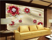 Wholesale Red Floral Wall Paper - Golden Jewelery Diamond Red Rose TV Wall mural 3d wallpaper 3d wall papers for tv backdrop