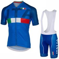 Wholesale Catazer Italia Cycling Jerseys Set Short Sleeves Blue White Colors With Gel Padded Bib None Bib Pants Size XS XL Bike Wear