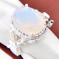 oval opal - 2pcs Bulk Price Christmas Gift Sterling Silver Oval Fire Opals Gems Ring R0803