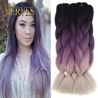 Wholesale gray hair braiding resale online - Ombre Kanekalon Braiding Hair braid g piece purple gray High Temperature Fiber Kanekalon Jumbo Braid Hair Extension