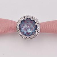 herz perlen blau großhandel-Authentische 925 Sterling Silber Perlen Radiant Hearts Glacier-Blue Charms Passt Europäischen Pandora Style Schmuck Armbänder Halskette 791725NGL