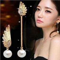 Wholesale Wings Pearl Earrings - Angel wings asymmetrical pearl tassel Dangle Angel wings chandelier Angel wings earring wholesale free shipping