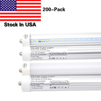 Single Pin FA8 Base 8FT LED Light Tube Trabalho sem balastro 45W, Replacement 90W Fluorescent Lamp Shop Luzes T8 Dual-Ended Power 6000K