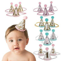 Wholesale Princess Birthday Supplies - baby crown Headbands cone shape Hairband Kids glitter Birthday Headbands party supplies princess tiara Hat boutique hair accessories KHA460