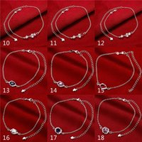 Wholesale 925 Silver Anchor Bracelet - Mixed order 24pcs lot 1pcs model Fashion Jewelry 925 Sterling Silver Plated Charm Anklet Women Feet Bracelet Anklets #AL108