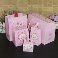 Wholesale Carton Set Girl - Carton Baby Girl Gift Bags With Handle Birthday Party Supplies Mult size Decoration Lovely Design Style 6pcs set