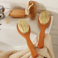 Wholesale Long Handled Bath Brushes - Wholesale-4 PCS Set Natural Bristle Middle Long Handle And No Handle Wooden Shower Body Bath Brush Round Head Soft Spa Brush