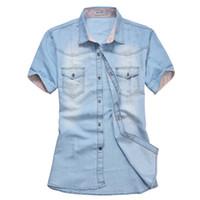 Wholesale Mens Slim Fit Denim Shirt - Wholesale- Men Denim Shirts Short Sleeve Slim Fit Casual Mens Cowboy Shirts Fashion Summer Camisa Jeans Masculina Plus Size