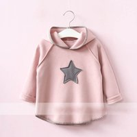 Wholesale Brown Girl Top - Everweekend Girls Star Hooded Tees Cute Baby Pink Gray and Brown Color Clothes Princess Western Korean Fashion Autumn Tops