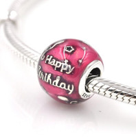 Wholesale Happy Birthday Metal - Fits Pandora Bracelets happy birthday to you Silver Beads with Red Enamel 100% 925 Sterling Silver Charms DIY Jewelry Wholesale