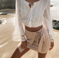 Wholesale Lace Long Sleeved Loose Top - Ladies Loose Summer V-Neck Lace Up Jumper Crop Tops Womens Long Sleeved Lace Chiffon Splice Paneled Patchwork Blouse T-Shirt Shirt Tee