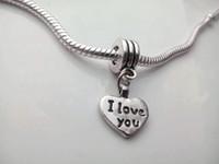 Wholesale Lettering Metal Bracelet - I love you alphabet lettering Heart Pendant Metal material Loose Beads Women Bracelet accessories popular beads
