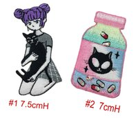 Wholesale diy cat bag - For A Cute Girl With Black Cat DIY Applique Customise Embroidered Iron Sew On Jacket or Bag Cap Patches