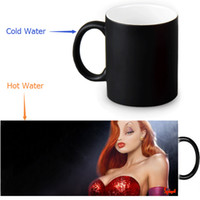 Atacado- Canecas Morphing personalizadas Jessica Rabbit Coffee Milk Quente quente Heat Heat Sensitive Coloring em preto e branco 12 Oz Ceramic Mug